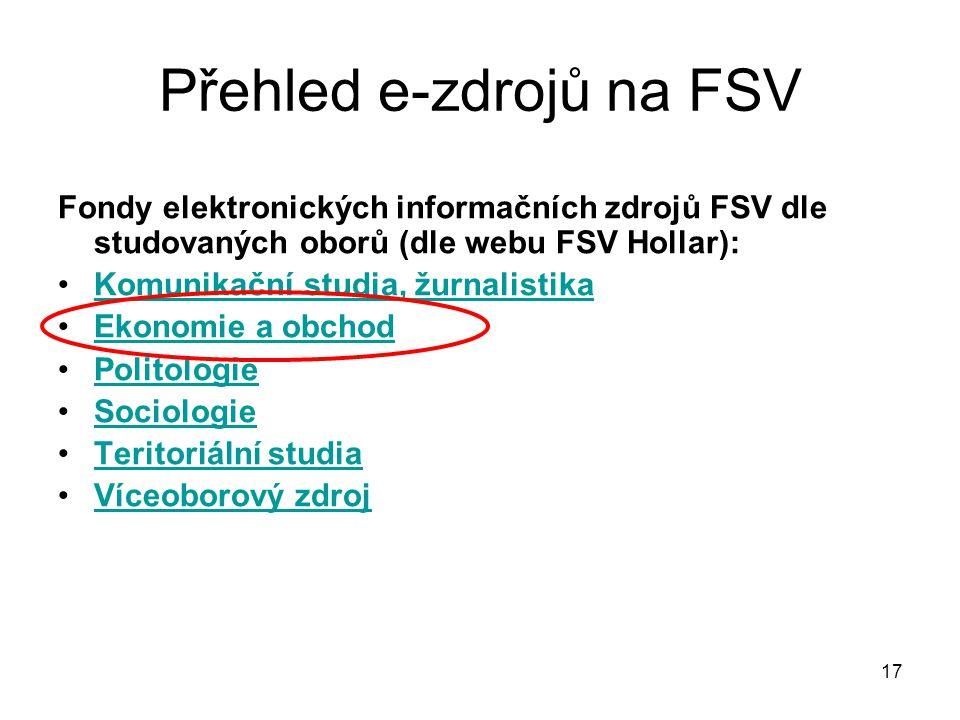 Přehled e-zdrojů na FSV