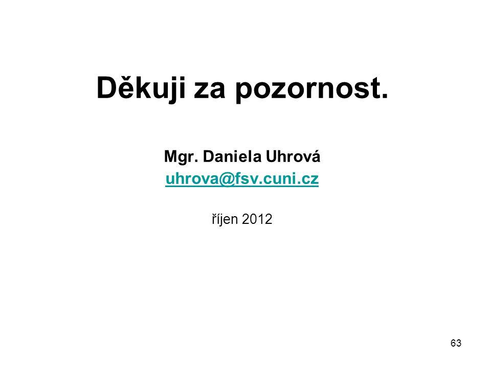 Děkuji za pozornost. Mgr. Daniela Uhrová uhrova@fsv.cuni.cz říjen 2012