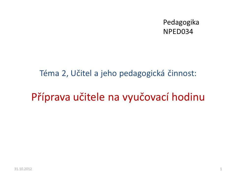 Pedagogika NPED034 Téma 2, Učitel a jeho pedagogická činnost: Příprava učitele na vyučovací hodinu.