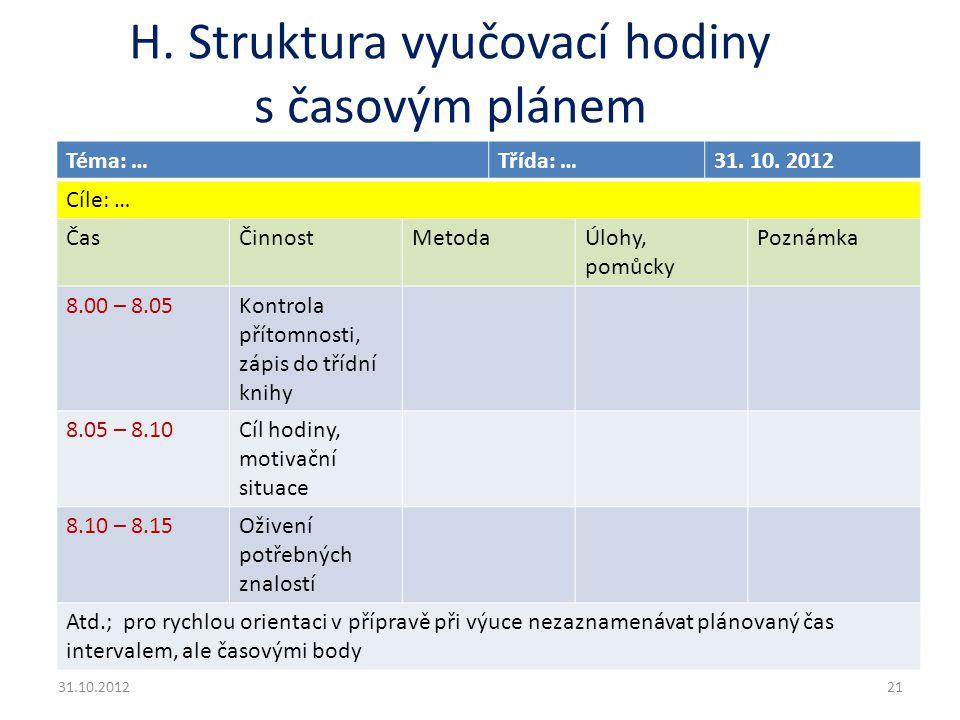 H. Struktura vyučovací hodiny s časovým plánem