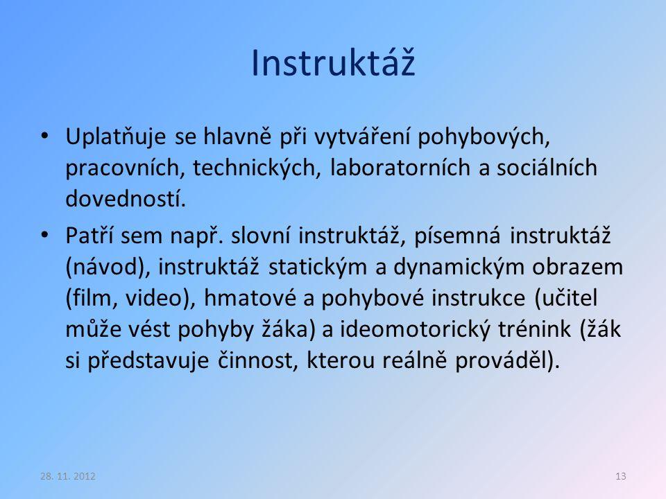 Instruktáž Uplatňuje se hlavně při vytváření pohybových, pracovních, technických, laboratorních a sociálních dovedností.
