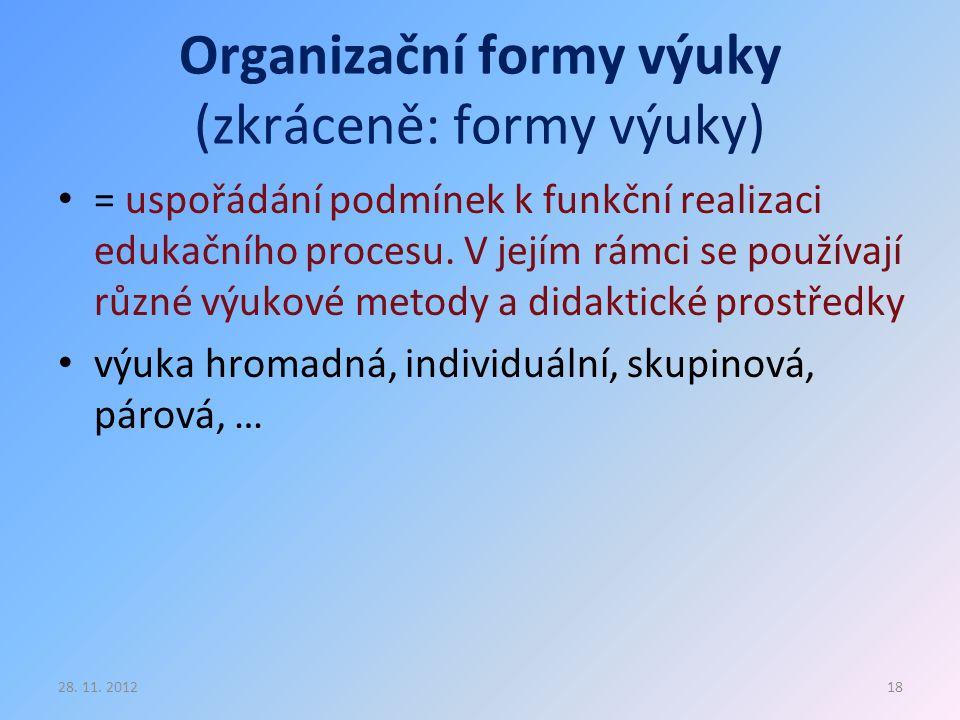 Organizační formy výuky (zkráceně: formy výuky)