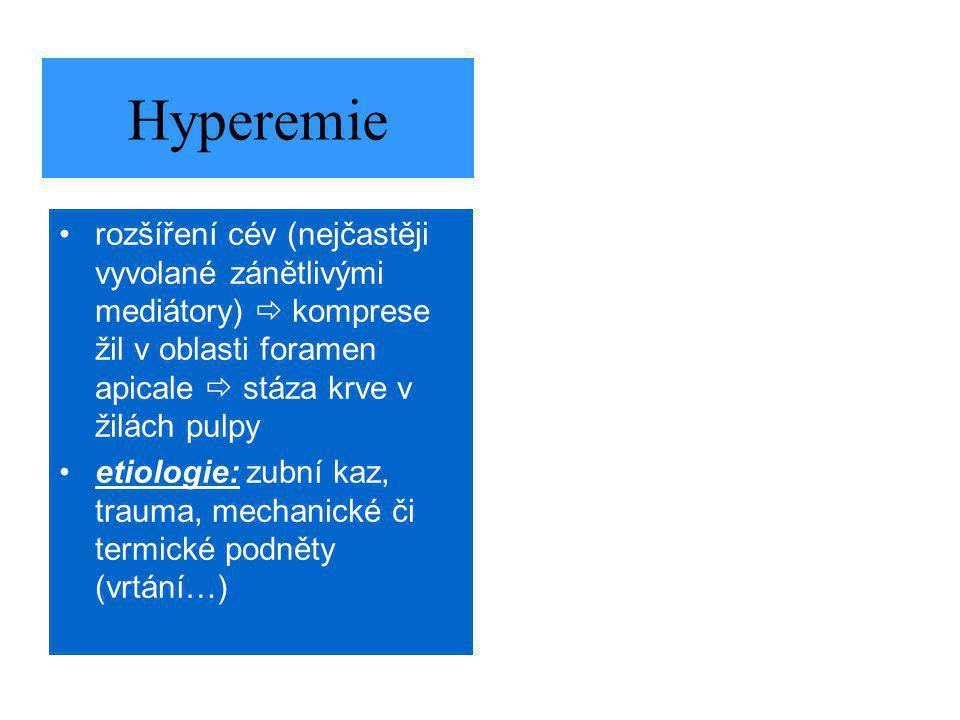 Hyperemie rozšíření cév (nejčastěji vyvolané zánětlivými mediátory)  komprese žil v oblasti foramen apicale  stáza krve v žilách pulpy.