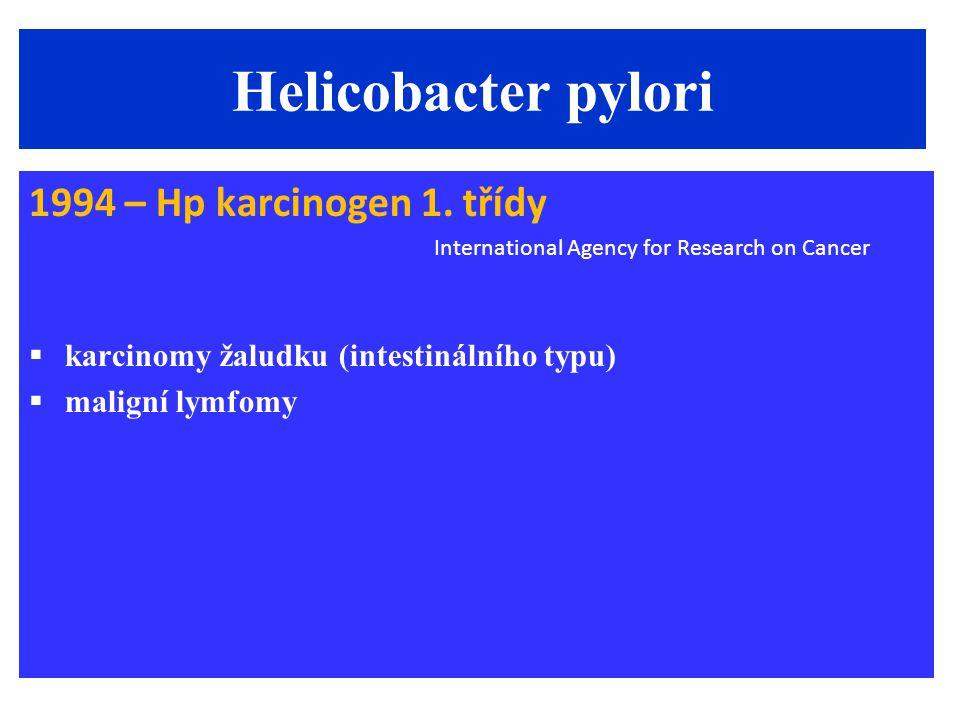 Helicobacter pylori 1994 – Hp karcinogen 1. třídy