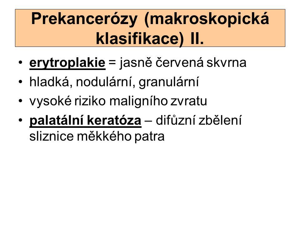 Prekancerózy (makroskopická klasifikace) II.
