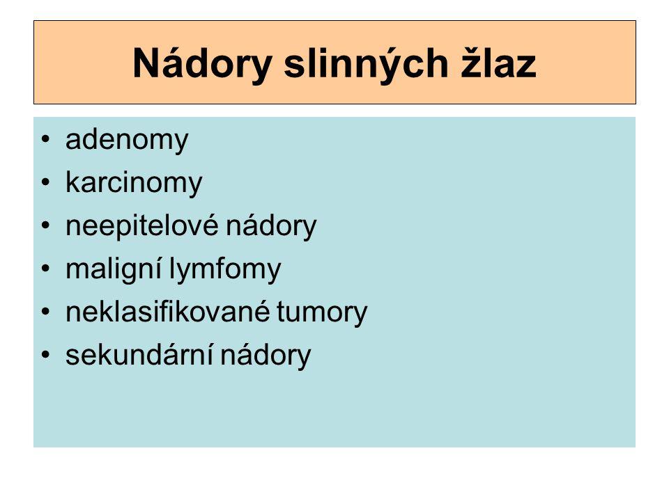 Nádory slinných žlaz adenomy karcinomy neepitelové nádory