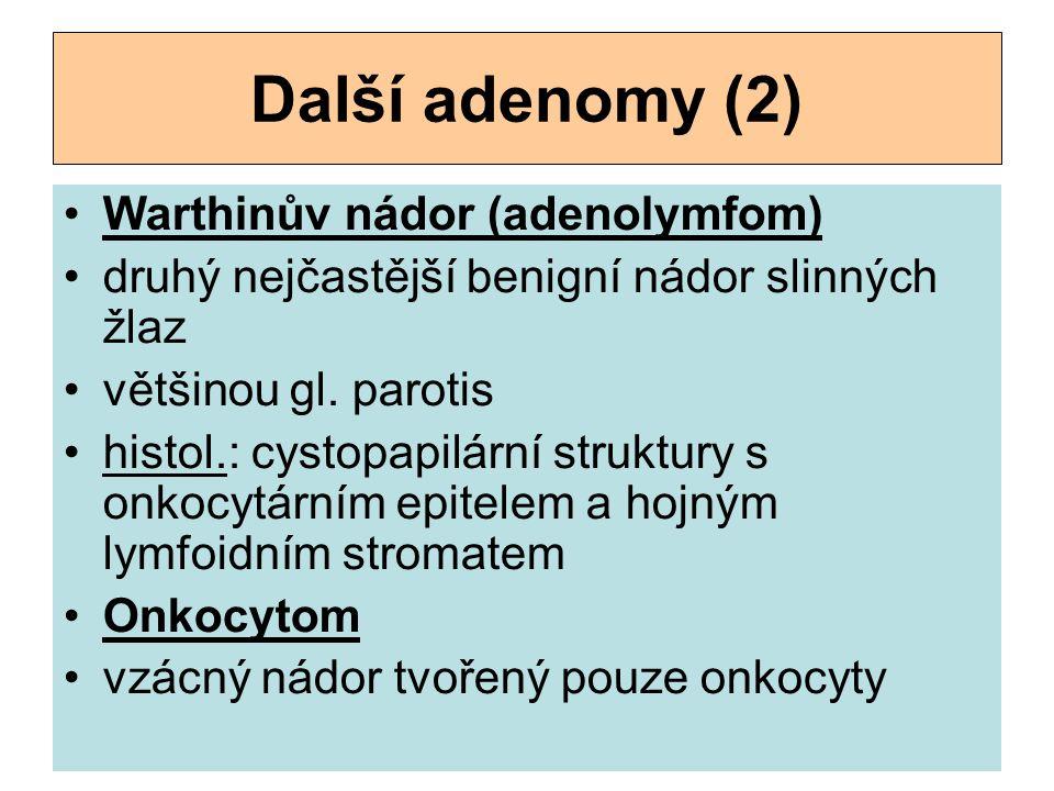 Další adenomy (2) Warthinův nádor (adenolymfom)
