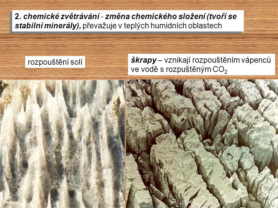 2. chemické zvětrávání - změna chemického složení (tvoří se stabilní minerály), převažuje v teplých humidních oblastech