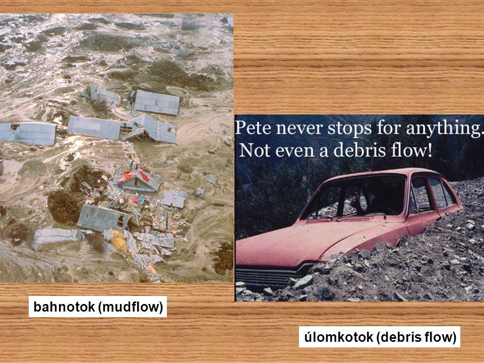 bahnotok (mudflow) úlomkotok (debris flow)
