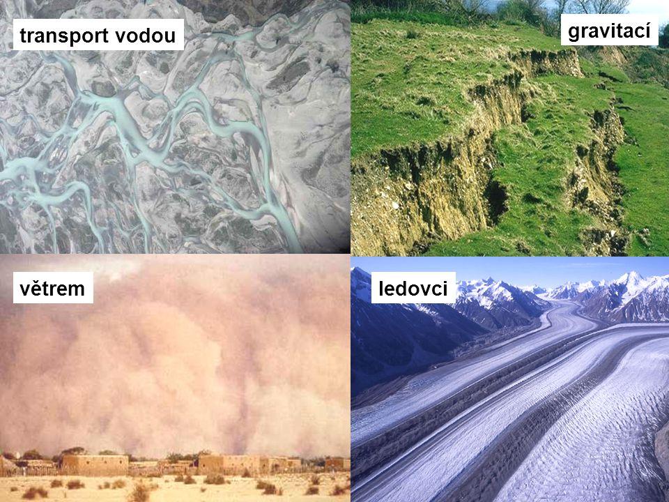 gravitací transport vodou větrem ledovci