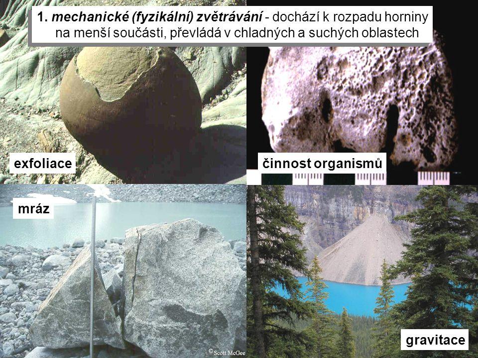 1. mechanické (fyzikální) zvětrávání - dochází k rozpadu horniny