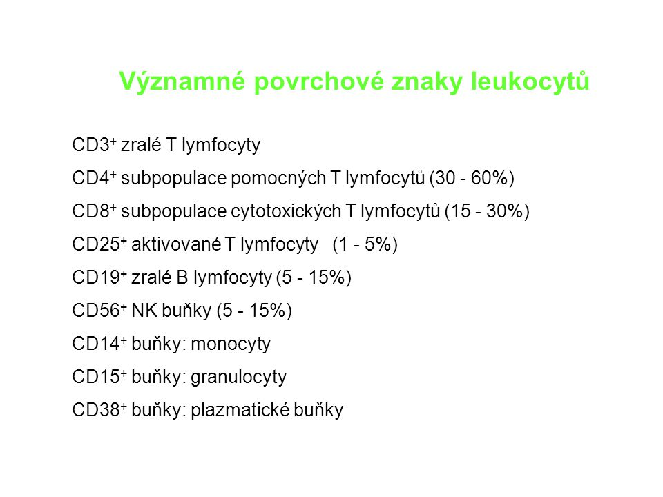 Významné povrchové znaky leukocytů