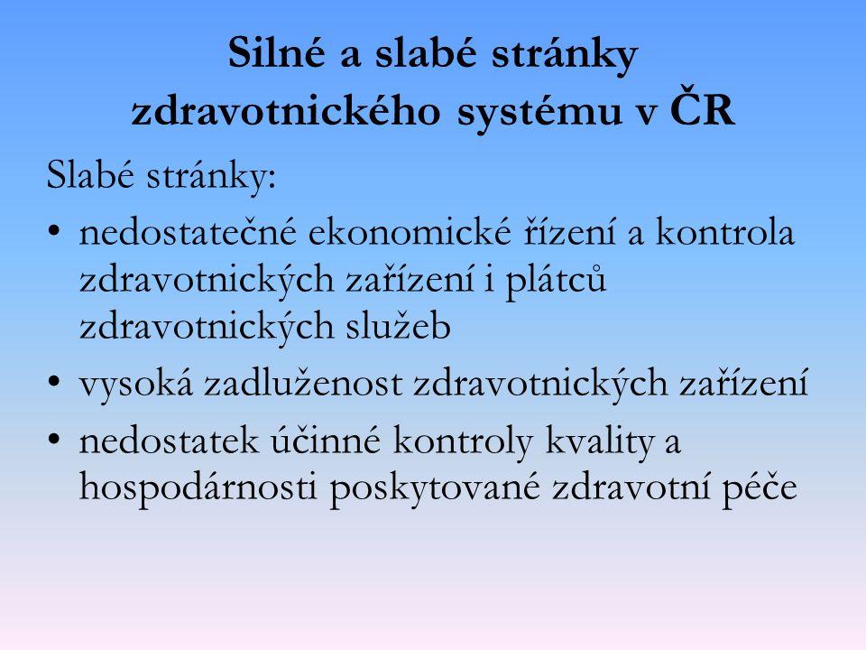 Silné a slabé stránky zdravotnického systému v ČR