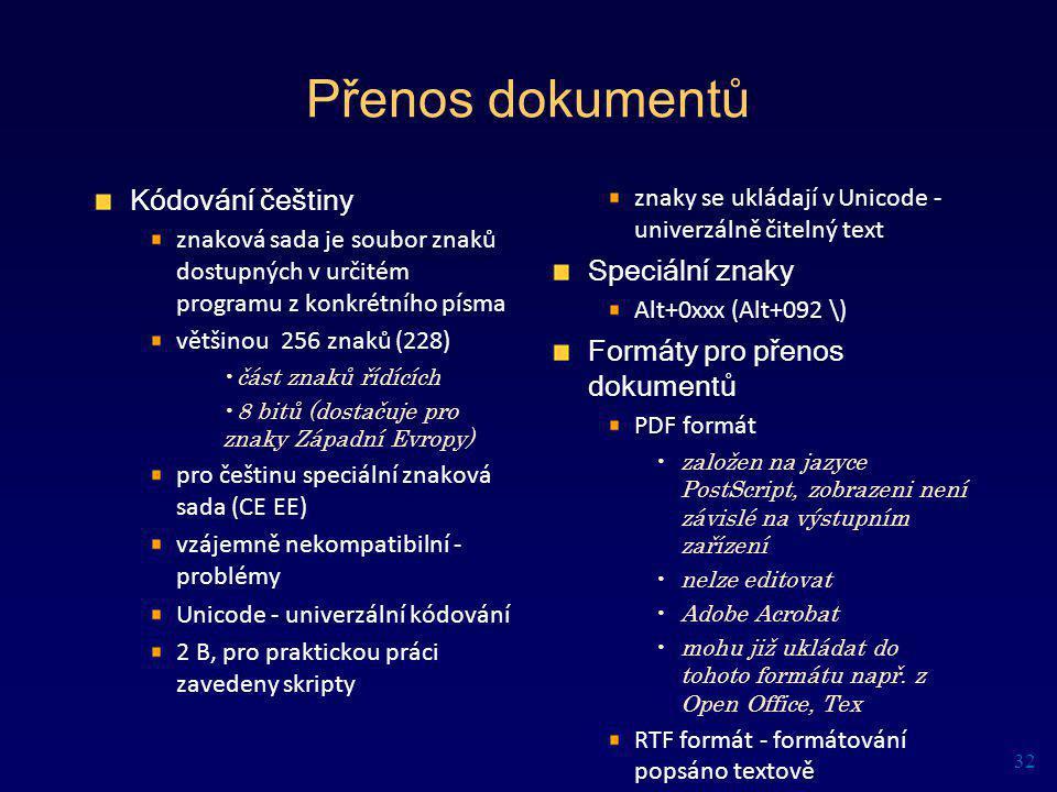 Přenos dokumentů Kódování češtiny Speciální znaky