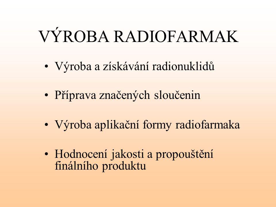 VÝROBA RADIOFARMAK Výroba a získávání radionuklidů