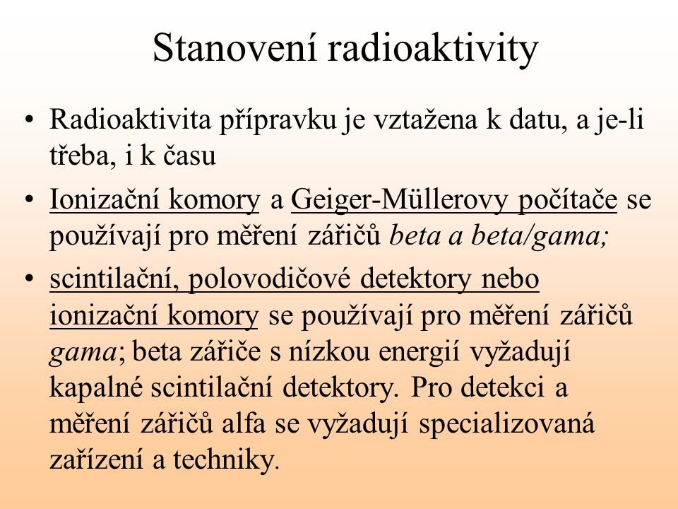 Stanovení radioaktivity