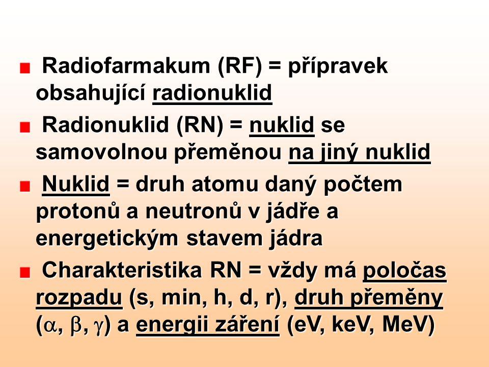 Radiofarmakum (RF) = přípravek obsahující radionuklid
