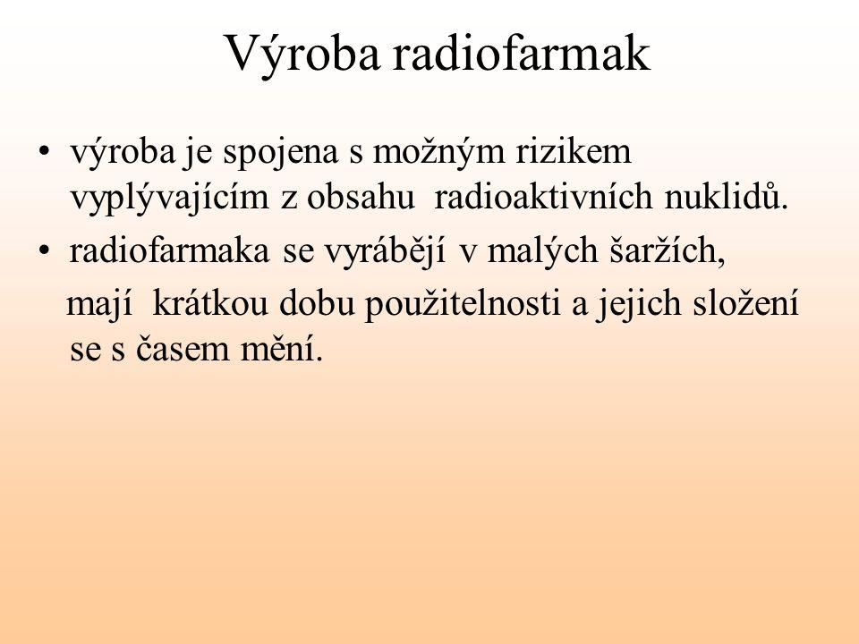 Výroba radiofarmak výroba je spojena s možným rizikem vyplývajícím z obsahu radioaktivních nuklidů.