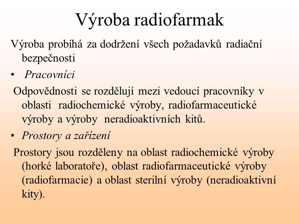 Výroba radiofarmak Výroba probíhá za dodržení všech požadavků radiační bezpečnosti. Pracovníci.