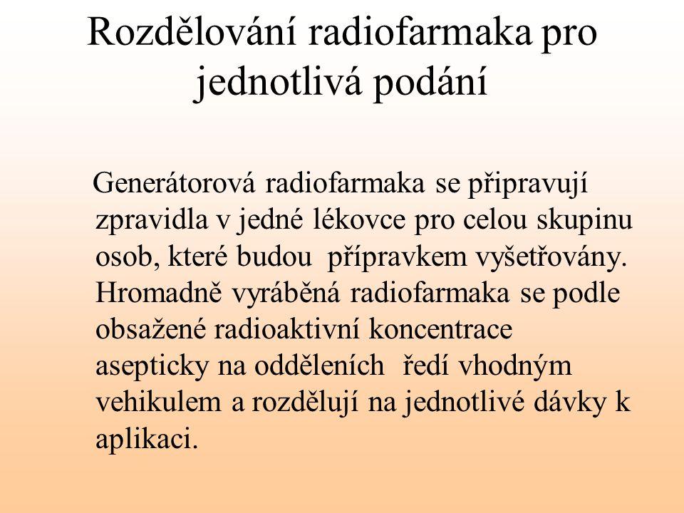 Rozdělování radiofarmaka pro jednotlivá podání