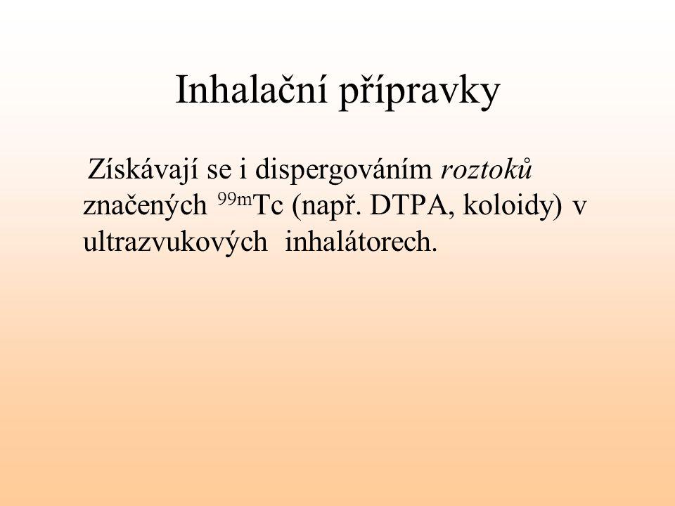 Inhalační přípravky Získávají se i dispergováním roztoků značených 99mTc (např.