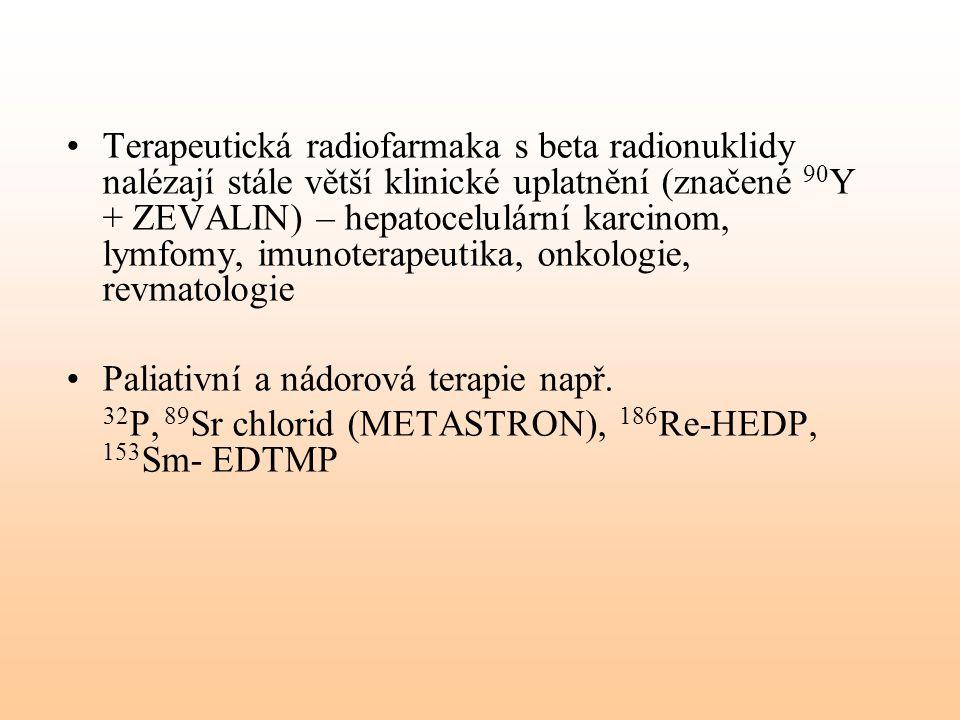 Terapeutická radiofarmaka s beta radionuklidy nalézají stále větší klinické uplatnění (značené 90Y + ZEVALIN) – hepatocelulární karcinom, lymfomy, imunoterapeutika, onkologie, revmatologie