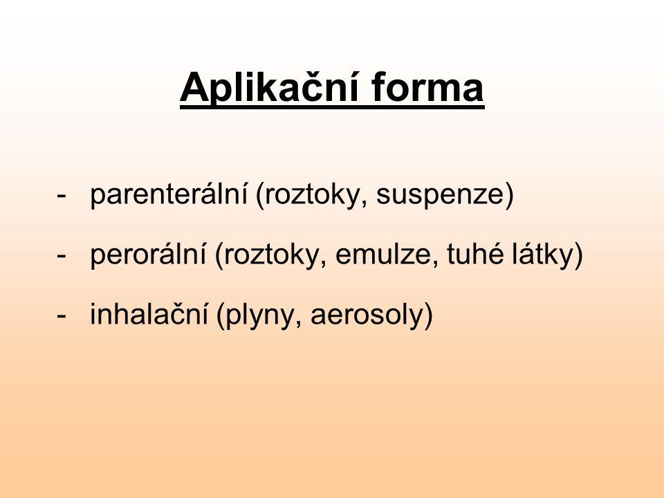 Aplikační forma parenterální (roztoky, suspenze)