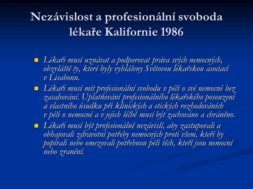 Nezávislost a profesionální svoboda lékaře Kalifornie 1986