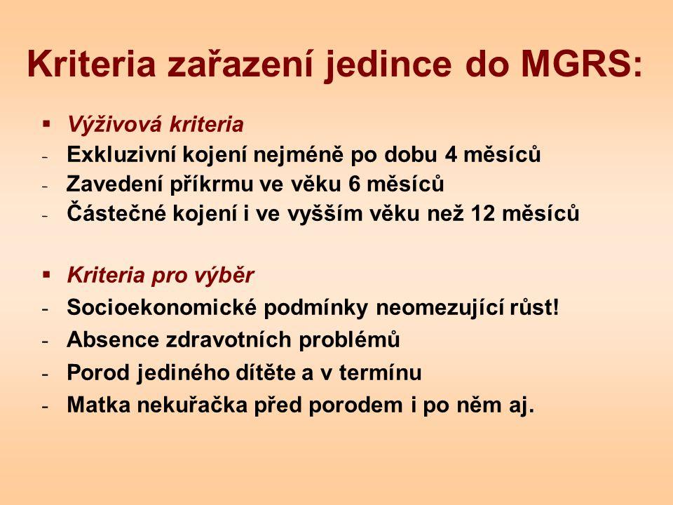 Kriteria zařazení jedince do MGRS: