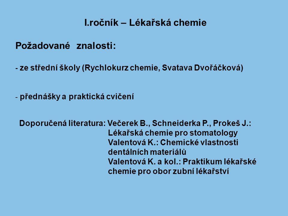 I.ročník – Lékařská chemie Požadované znalosti: