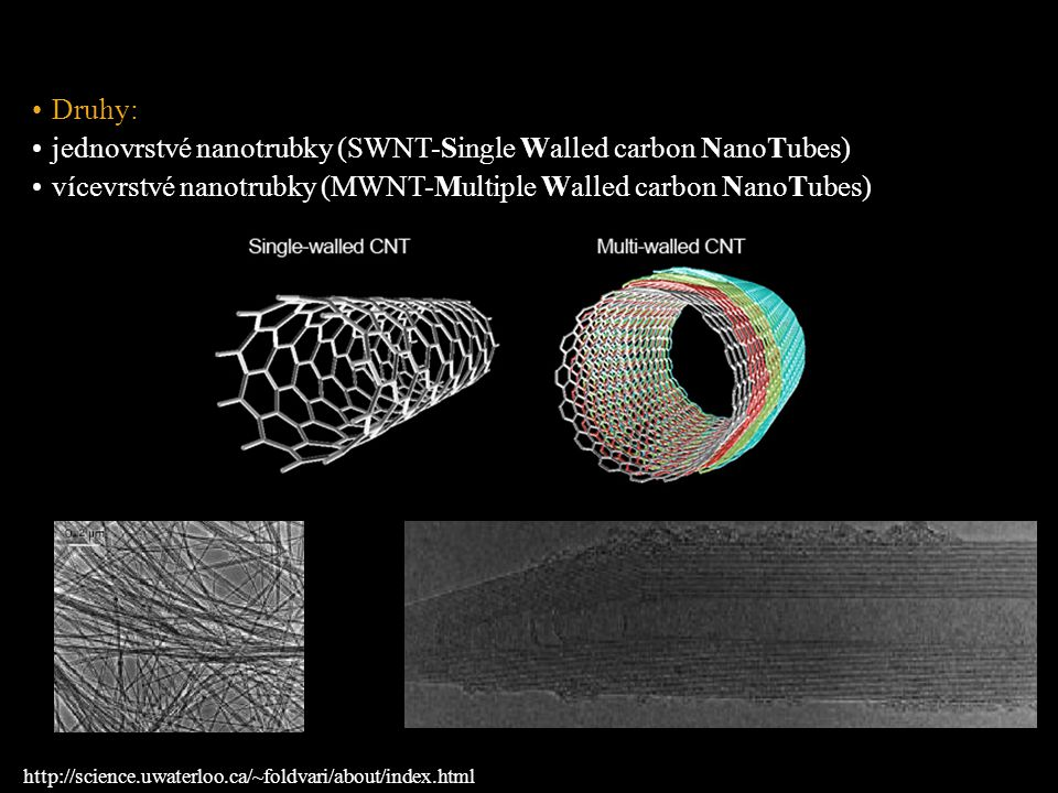jednovrstvé nanotrubky (SWNT-Single Walled carbon NanoTubes)