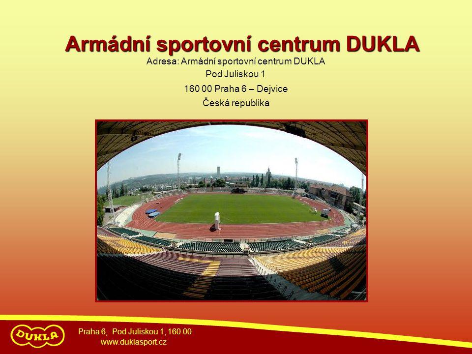 Adresa: Armádní sportovní centrum DUKLA