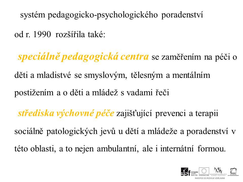 systém pedagogicko-psychologického poradenství od r