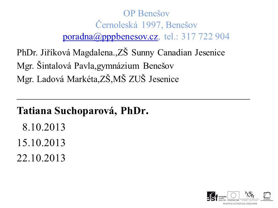 ___________________________________________ Tatiana Suchoparová, PhDr.