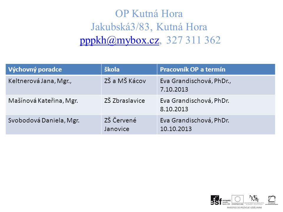 OP Kutná Hora Jakubská3/83, Kutná Hora pppkh@mybox.cz, 327 311 362