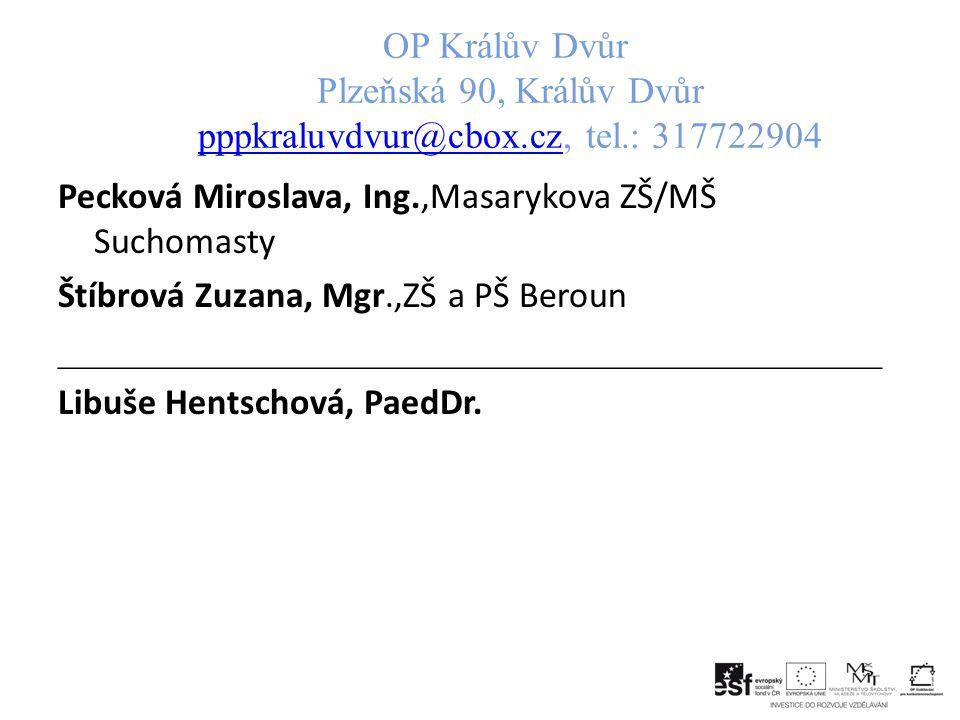 OP Králův Dvůr Plzeňská 90, Králův Dvůr pppkraluvdvur@cbox. cz, tel