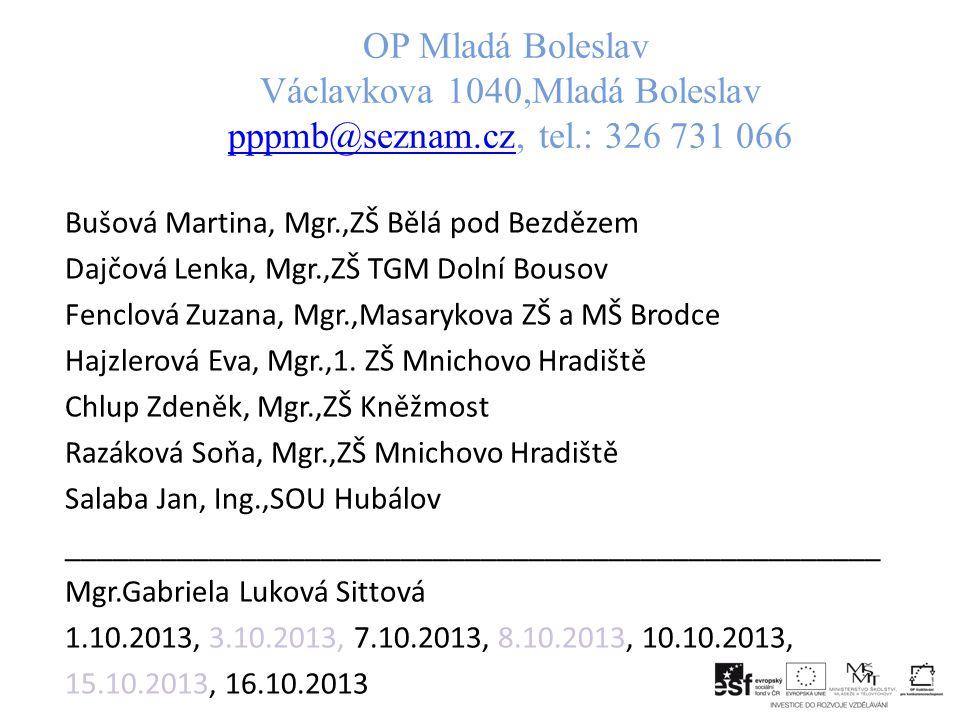 OP Mladá Boleslav Václavkova 1040,Mladá Boleslav pppmb@seznam. cz, tel