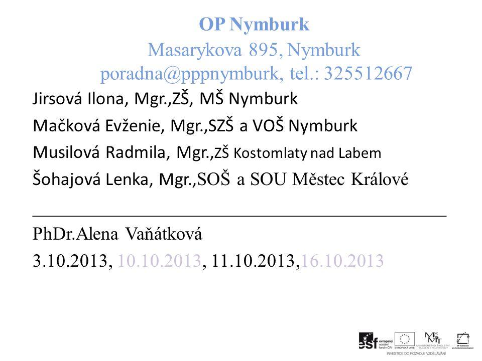 OP Nymburk Masarykova 895, Nymburk poradna@pppnymburk, tel.: 325512667