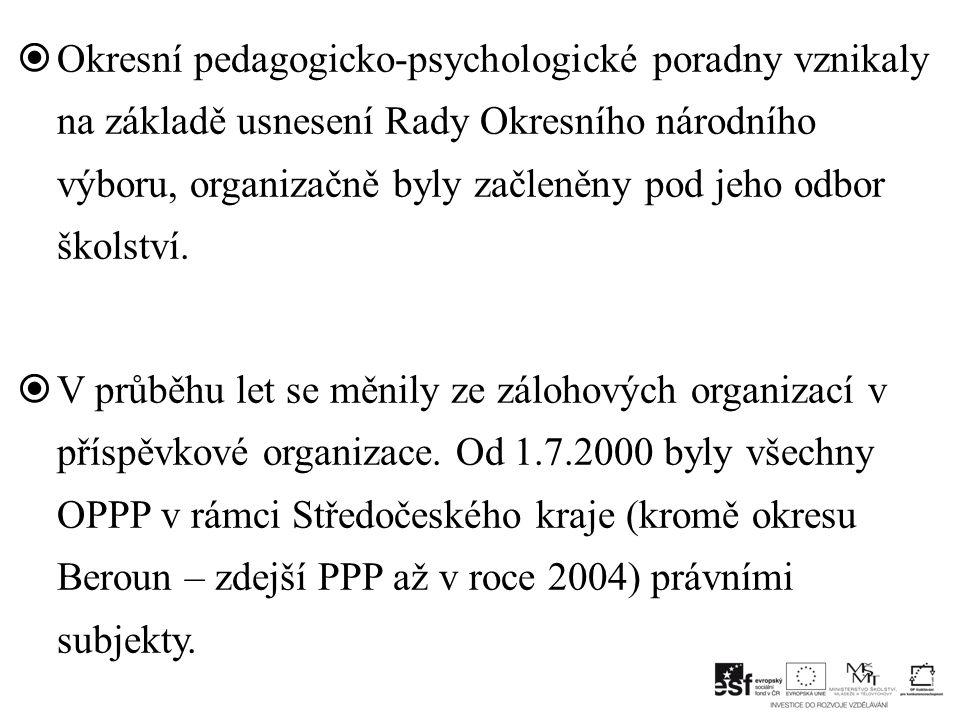 Okresní pedagogicko-psychologické poradny vznikaly na základě usnesení Rady Okresního národního výboru, organizačně byly začleněny pod jeho odbor školství.