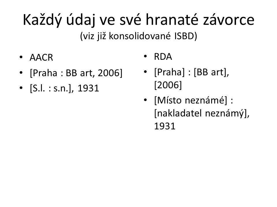 Každý údaj ve své hranaté závorce (viz již konsolidované ISBD)