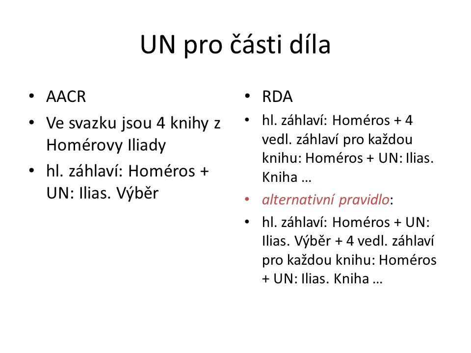 UN pro části díla AACR Ve svazku jsou 4 knihy z Homérovy Iliady