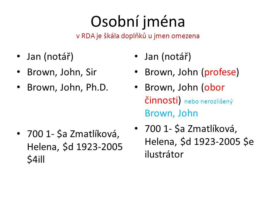 Osobní jména v RDA je škála doplňků u jmen omezena