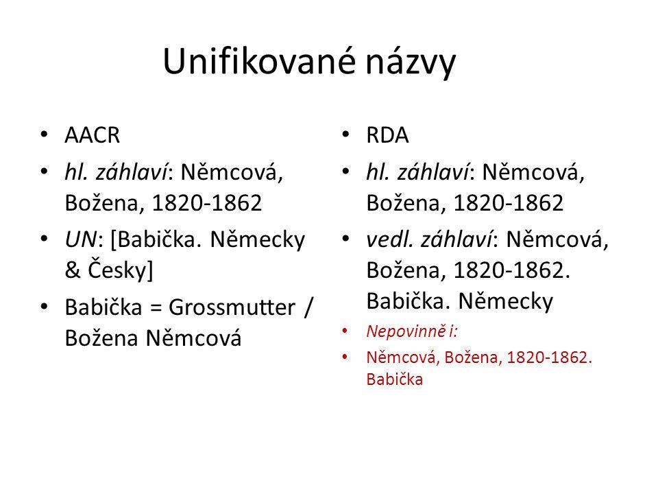 Unifikované názvy AACR hl. záhlaví: Němcová, Božena, 1820-1862