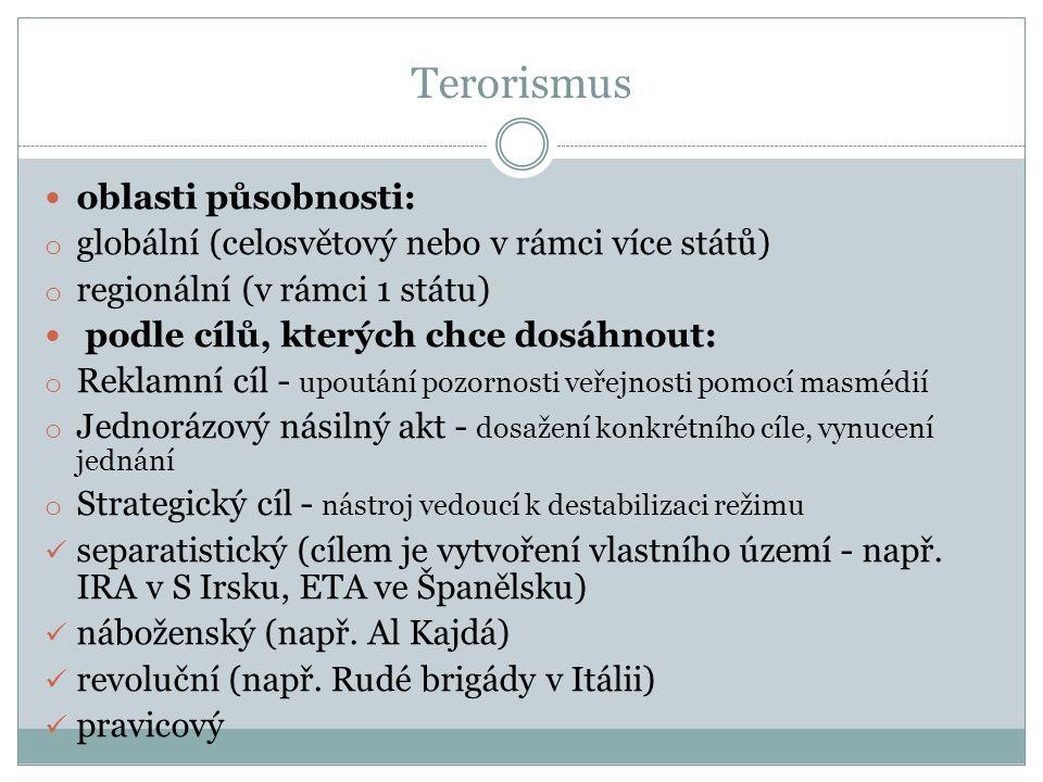 Terorismus oblasti působnosti: