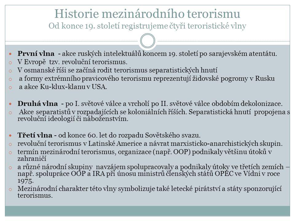 Historie mezinárodního terorismu Od konce 19