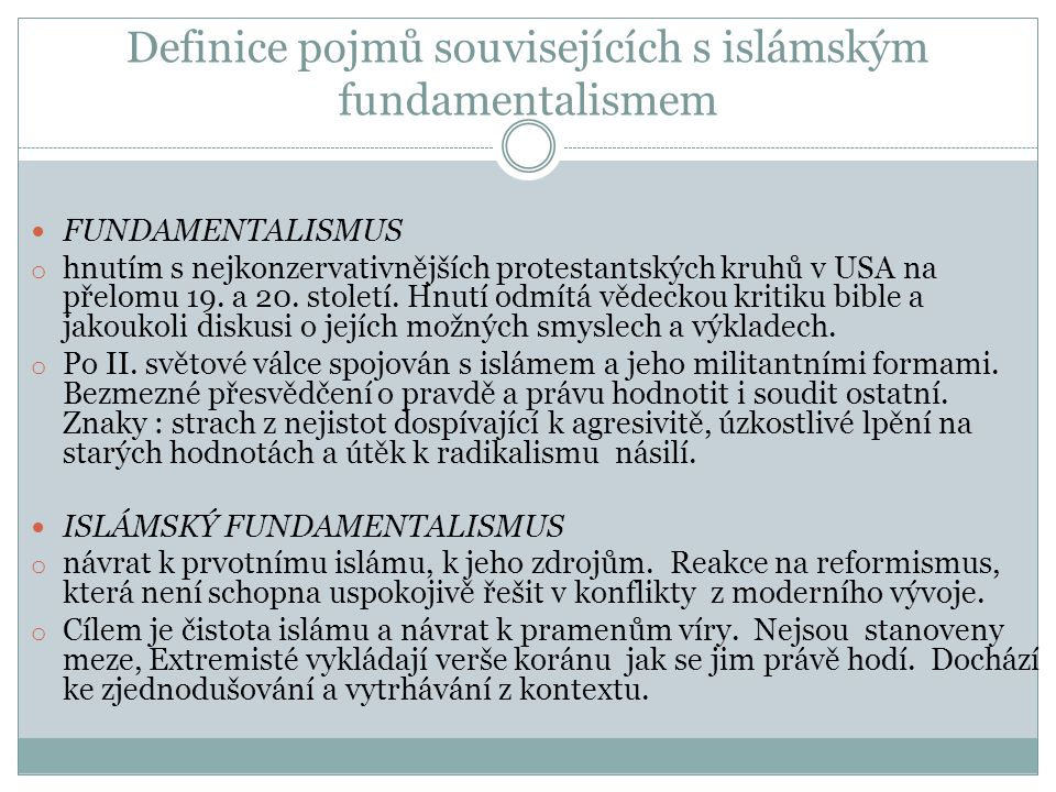 Definice pojmů souvisejících s islámským fundamentalismem
