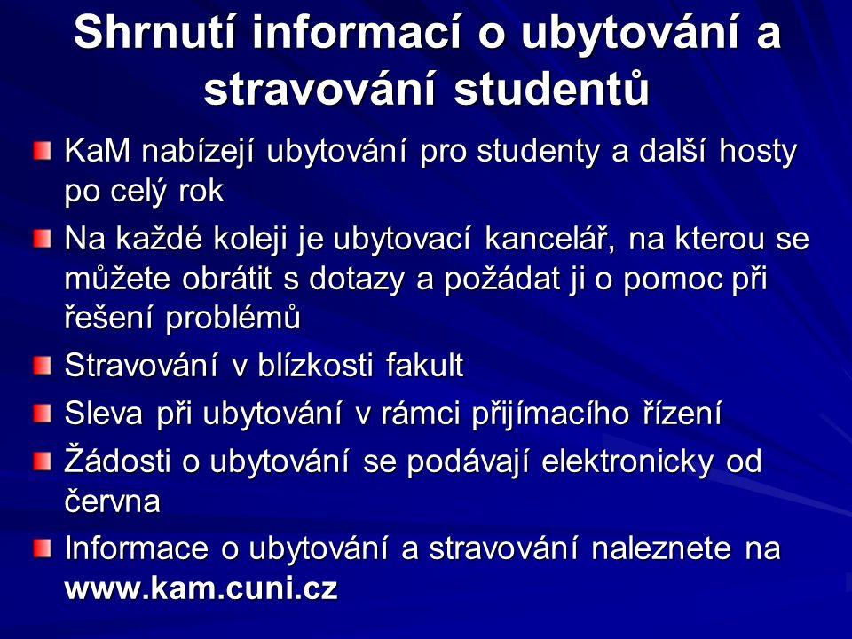 Shrnutí informací o ubytování a stravování studentů
