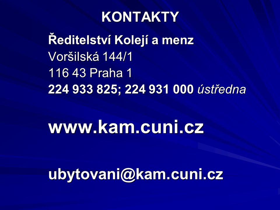 www.kam.cuni.cz ubytovani@kam.cuni.cz KONTAKTY