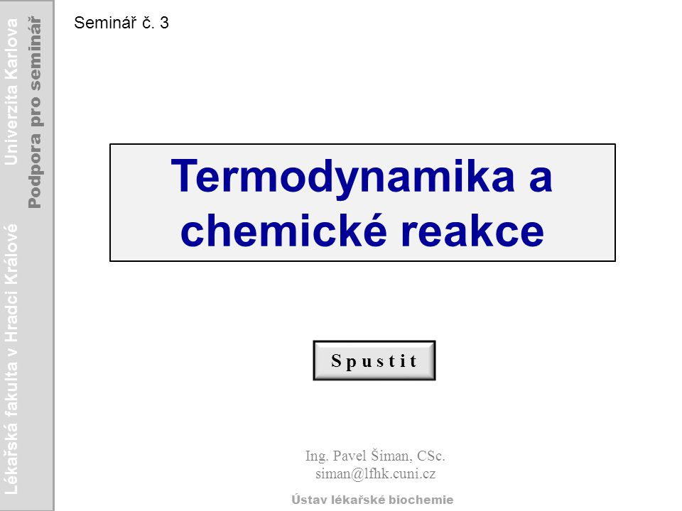 Termodynamika a chemické reakce