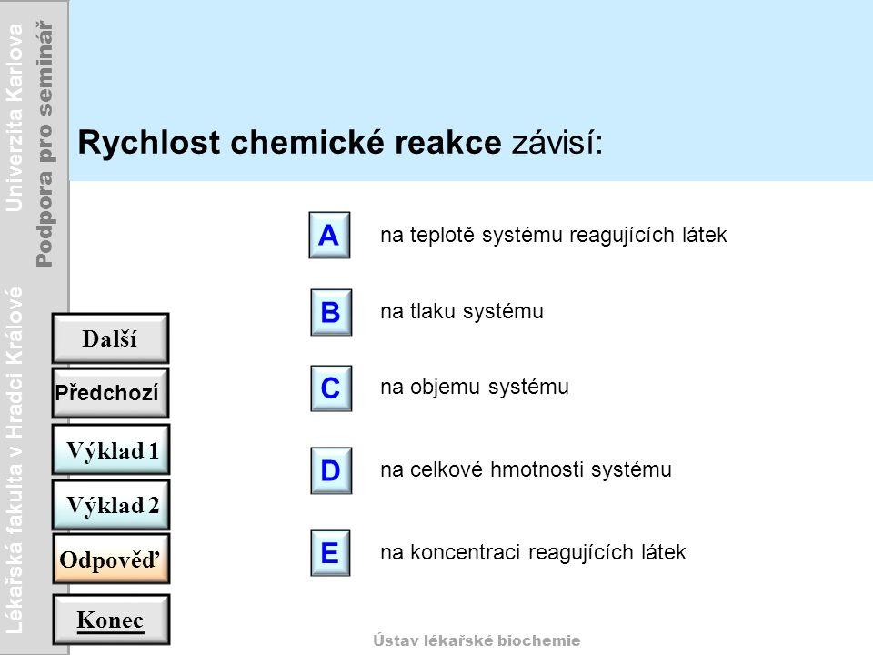 Rychlost chemické reakce závisí: